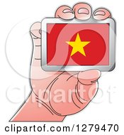 Clipart Of A Caucasian Hand Holding A Vietnam Flag Royalty Free Vector Illustration