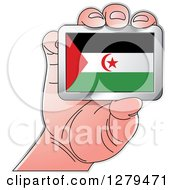 Clipart Of A Caucasian Hand Holding A Western Sahara Flag Royalty Free Vector Illustration