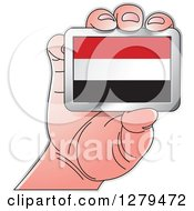 Clipart Of A Caucasian Hand Holding A Yemen Flag Royalty Free Vector Illustration