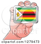 Clipart Of A Caucasian Hand Holding A Zimbabwe Flag Royalty Free Vector Illustration