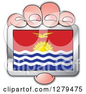 Clipart Of A Caucasian Hand Holding A Kiribati Flag Royalty Free Vector Illustration