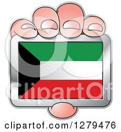 Clipart Of A Caucasian Hand Holding A Kuwaiti Flag Royalty Free Vector Illustration
