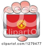 Clipart Of A Caucasian Hand Holding A Kyrgyzstan Flag Royalty Free Vector Illustration