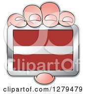 Clipart Of A Caucasian Hand Holding A Latvia Flag Royalty Free Vector Illustration