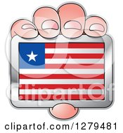 Clipart Of A Caucasian Hand Holding A Liberian Flag Royalty Free Vector Illustration