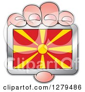 Clipart Of A Caucasian Hand Holding A Macedonia Flag Royalty Free Vector Illustration