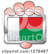 Clipart Of A Caucasian Hand Holding A Madagascar Flag Royalty Free Vector Illustration