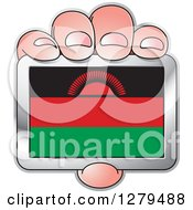 Clipart Of A Caucasian Hand Holding A Malawi Flag Royalty Free Vector Illustration