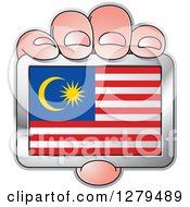 Clipart Of A Caucasian Hand Holding A Malaysia Flag Royalty Free Vector Illustration by Lal Perera