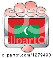 Clipart Of A Caucasian Hand Holding A Maldives Flag Royalty Free Vector Illustration by Lal Perera