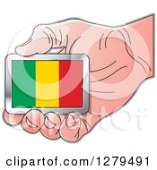 Clipart Of A Caucasian Hand Holding A Mali Flag Royalty Free Vector Illustration