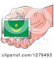 Clipart Of A Caucasian Hand Holding A Mauritania Flag Royalty Free Vector Illustration