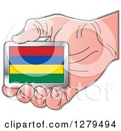 Clipart Of A Caucasian Hand Holding A Mauritius Flag Royalty Free Vector Illustration by Lal Perera