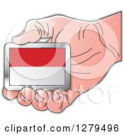 Clipart Of A Caucasian Hand Holding A Monaco Flag Royalty Free Vector Illustration by Lal Perera