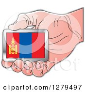 Clipart Of A Caucasian Hand Holding A Mongolia Flag Royalty Free Vector Illustration by Lal Perera