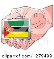Clipart Of A Caucasian Hand Holding A Mozambique Flag Royalty Free Vector Illustration by Lal Perera