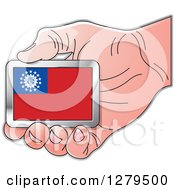 Clipart Of A Caucasian Hand Holding A Myanmar Flag Royalty Free Vector Illustration by Lal Perera