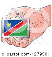 Clipart Of A Caucasian Hand Holding A Namibia Flag Royalty Free Vector Illustration by Lal Perera