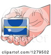 Clipart Of A Caucasian Hand Holding A Nauru Flag Royalty Free Vector Illustration by Lal Perera