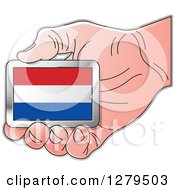 Clipart Of A Caucasian Hand Holding A Netherlands Flag Royalty Free Vector Illustration