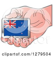 Clipart Of A Caucasian Hand Holding A New Zealand Flag Royalty Free Vector Illustration