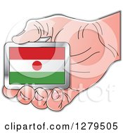 Clipart Of A Caucasian Hand Holding A Niger Flag Royalty Free Vector Illustration by Lal Perera