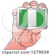 Clipart Of A Caucasian Hand Holding A Nigeria Flag Royalty Free Vector Illustration by Lal Perera