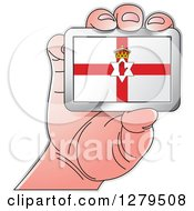 Clipart Of A Caucasian Hand Holding A Northern Ireland Flag Royalty Free Vector Illustration by Lal Perera