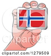 Clipart Of A Caucasian Hand Holding A Norway Flag Royalty Free Vector Illustration by Lal Perera