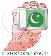 Clipart Of A Caucasian Hand Holding A Pakistani Flag Royalty Free Vector Illustration