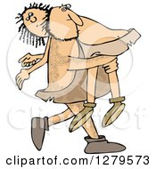 Clipart Of A Hairy Caveman Carrying A Woman Over His Shoulder Royalty Free Vector Illustration
