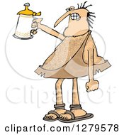 Clipart Of A Hairy Caveman Cheering With A Beer Stein Royalty Free Vector Illustration
