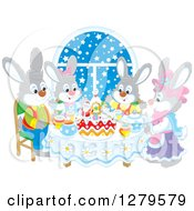 Cute Gray Bunny Rabbit Family Sitting Around A Christmas Cake By A Snowy Starry Window