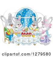 Clipart Of A Cute Gray Bunny Rabbit Family Sitting Around A Christmas Cake By A Snowy Starry Window Royalty Free Vector Illustration by Alex Bannykh