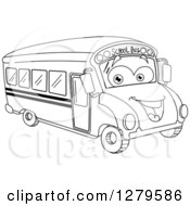 Clipart Of A Black And White Happy Smiling School Bus Facing Right Royalty Free Vector Illustration
