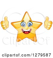 Clipart Of A Pleased Happy Yellow Star Character Giving Two Thumbs Up Royalty Free Vector Illustration