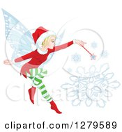 Clipart Of A Blond Female Christmas Fairy Making A Snowflake Royalty Free Vector Illustration