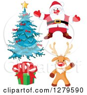 Clipart Of A Christmas Tree Santa Claus Gift And Waving Reindeer Royalty Free Vector Illustration by Pushkin