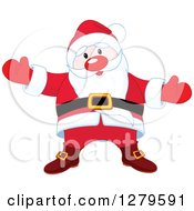 Clipart Of A Welcoming Christmas Santa Claus Wanting A Hug Royalty Free Vector Illustration