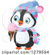 Cute Winter Penguin Wearing A Hat And Scarf And Eating A Waffle Ice Cream Cone