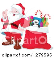 Clipart Of A Jolly Christmas Santa Claus Giving A Thumb Up By A Sack Full Of Gifts Royalty Free Vector Illustration