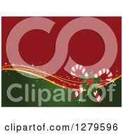 Red And Green Christmas Background With Gold Waves Holly And Candy Canes