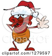 Clipart Of A Friendly Waving Ant Wearing A Christmas Santa Hat Royalty Free Vector Illustration by Dennis Holmes Designs