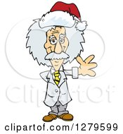 Clipart Of A Friendly Waving Scientist Albert Einstein Wearing A Christmas Santa Hat Royalty Free Vector Illustration by Dennis Holmes Designs
