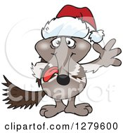 Clipart Of A Friendly Waving Anteater Wearing A Christmas Santa Hat Royalty Free Vector Illustration by Dennis Holmes Designs