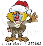 Clipart Of A Friendly Waving Baboon Wearing A Christmas Santa Hat Royalty Free Vector Illustration
