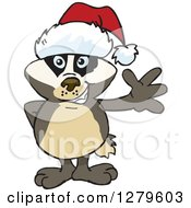 Clipart Of A Friendly Waving Honey Badger Wearing A Christmas Santa Hat Royalty Free Vector Illustration by Dennis Holmes Designs