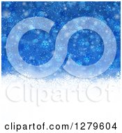 Clipart Of A Blue Christmas Background Of Snowflakes And A White Bottom Royalty Free Vector Illustration