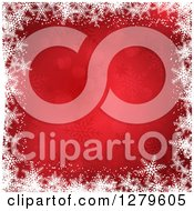 Clipart Of A Red Christmas Background Bordered In White Snowflakes Royalty Free Vector Illustration
