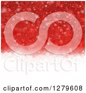 Clipart Of A Red Christmas Background Of Snowflakes And A White Bottom Royalty Free Vector Illustration